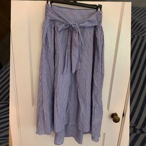 NWT Large Max Studio Blue/white striped midi skirt